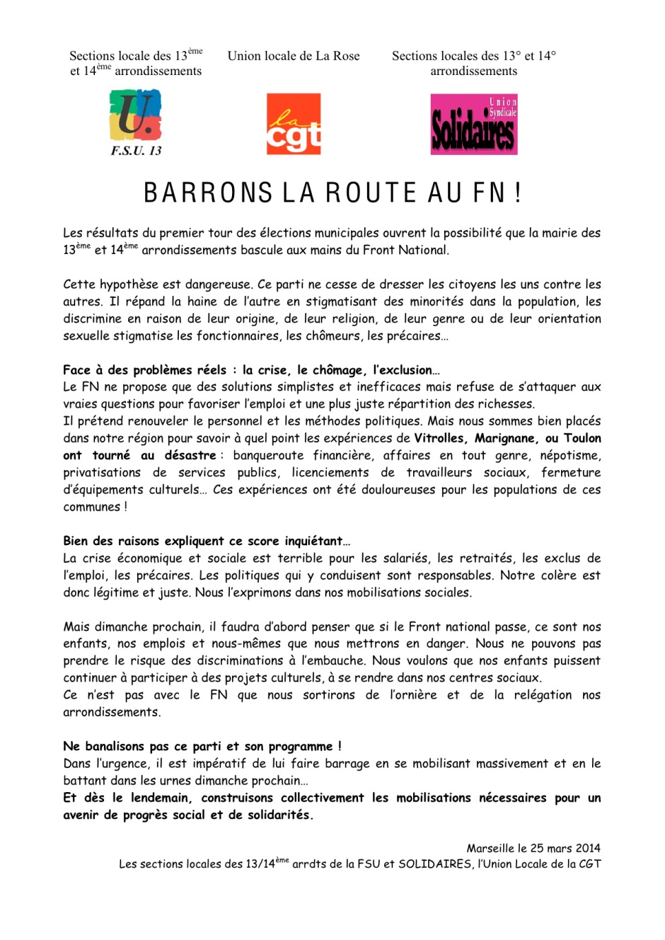 Appel Barrons la route au FN, Marseille 13-14è